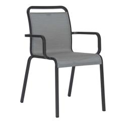 OSKAR • Armlehnstuhl / Stapelsessel • Aluminium anthrazit • Textilene silber • STERN