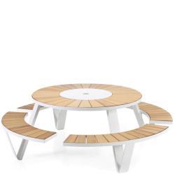 PANTAGRUEL picnic • Gartentisch-Bank-Kombination • Gestell wählbar in Weiss, Erdbraun oder Schwarz • EXTREMIS