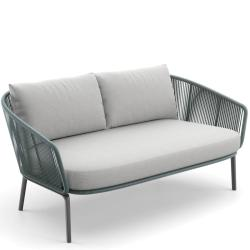 RILLY • Outdoor 2-Sitzer Sofa • Kunstfaser-Bespannung • Taupe oder Teal • Polster exklusive • DEDON