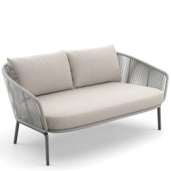 RILLY • Outdoor 2-Sitzer Sofa • Seil-Bespannung • Taupe oder Teal • Polster exklusive • DEDON