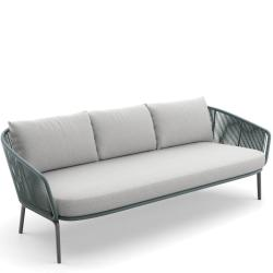 RILLY • Outdoor 3-Sitzer Sofa • Kunstfaser-Bespannung • Taupe oder Teal • Polster exklusive • DEDON