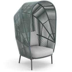 RILLY • Outdoor Loungesessel / Cocoon-Chair • Kunstfaser-Bespannung • Taupe, Teal oder Saffron • Polster inklusive • DEDON