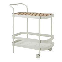 ROLL • Barwagen/ Servierwagen / Trolley • inkl. Teakeinlegeplatte• weiss • cane-line