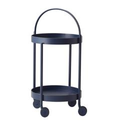 ROLL • Servierwagen / Trolley • mit abnehmbarem Tablett • Midnight blue • cane-line