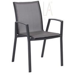 RON • Armlehnstuhl / Stapelsessel • Aluminium anthrazit • Textilene silber • STERN