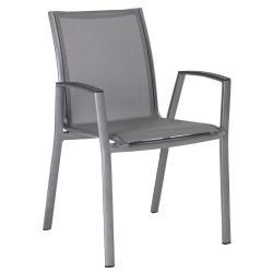 RON • Armlehnstuhl / Stapelsessel • Aluminium graphit • Textilene silbergrau • STERN