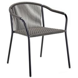 SAMBA • Gartenstuhl mit Armlehnen / Stapelstuhl • Gestell aus Aluminium Schwarz oder Bronze • ROYAL BOTANIA