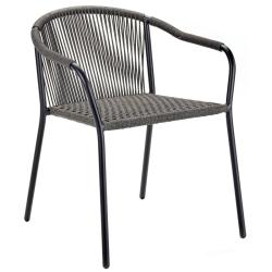 SAMBA • Gartenstuhl mit Armlehnen / Stapelstuhl • Gestell aus Aluminium Schwarz • ROYAL BOTANIA