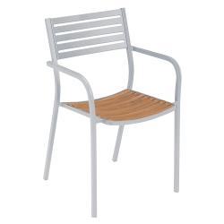 SEGNO • Gartenstuhl mit Armlehnen und Teaksitz / Stapelstuhl • diverse Farben • EMU