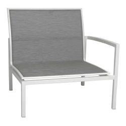 SKELBY • Loungemodul Armlehne LINKS • Alu Weiß • Textilenebezug Silber • STERN