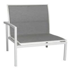 SKELBY • Loungemodul Armlehne RECHTS • Alu Weiß • Textilenebezug Silber • STERN