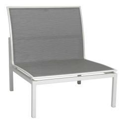 SKELBY • Loungemodul MITTE-Element • Alu Weiß • Textilenebezug Silber • STERN