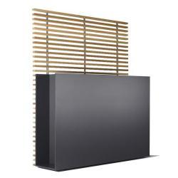 SOTOMON • Pflanzgefäß/Raumteiler breit mit Rankgitter • 37x150x170cm • HPL anthrazit/Thermoesche • CONMOTO