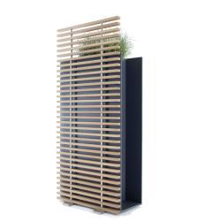 SOTOMON • Pflanzgefäß/Raumteiler schmal mit Rankgitter • 37x75x170cm • HPL anthrazit/Thermoesche • CONMOTO
