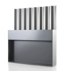 TICINO 12 • Raumteiler mit Edelstahl Lamellen • 30x150x175cm • HPL anthrazit • CONMOTO