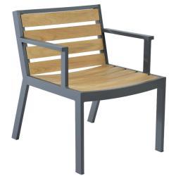 TWISK • Gartenstuhl mit Armlehnen • Teakholz • Aluminiumgestell • BOREK