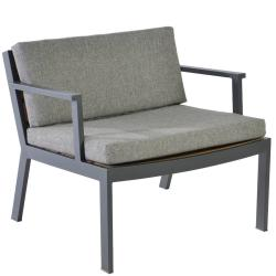 TWISK • Outdoor Loungesessel / Loungechair mit Armlehnen • Teakholz • Aluminiumgestell • Kissen inklusive • BOREK
