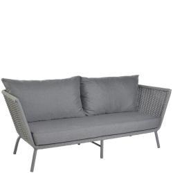 VALLDEMOSSA • Outdoor Lounge 3-Sitzer Sofa • Alu Anthrazit • Seilbespannung Dunkelgrau • Kissen inklusive • BOREK