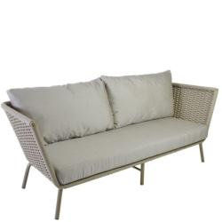 VALLDEMOSSA • Outdoor Lounge 3-Sitzer Sofa • Alu Sand • Seilbespannung Sand • Kissen inklusive • BOREK