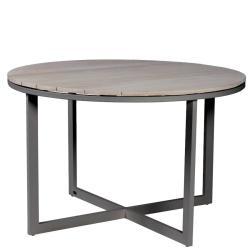 VENICE • Gartentisch / Esstisch • Ø120cm • Aluminium Anthrazit • TEAK hellgrau gebeizt • BOREK