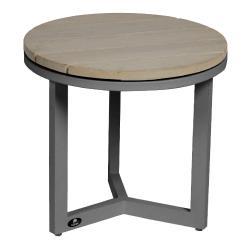 VENICE • Outdoor Beistelltisch • Ø45,5×H41,5cm • Aluminium Anthrazit • TEAK hellgrau gebeizt • BOREK