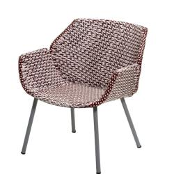 VIBE • Outdoor Loungechair / Loungesessel • Hellgrau/Bordeaux/Dusty Rose • Cane-line