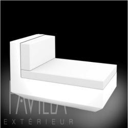 VONDOM VELA • Lounge-Modul Chaiselongue OHNE ARMLEHNE • beleuchtet weiß